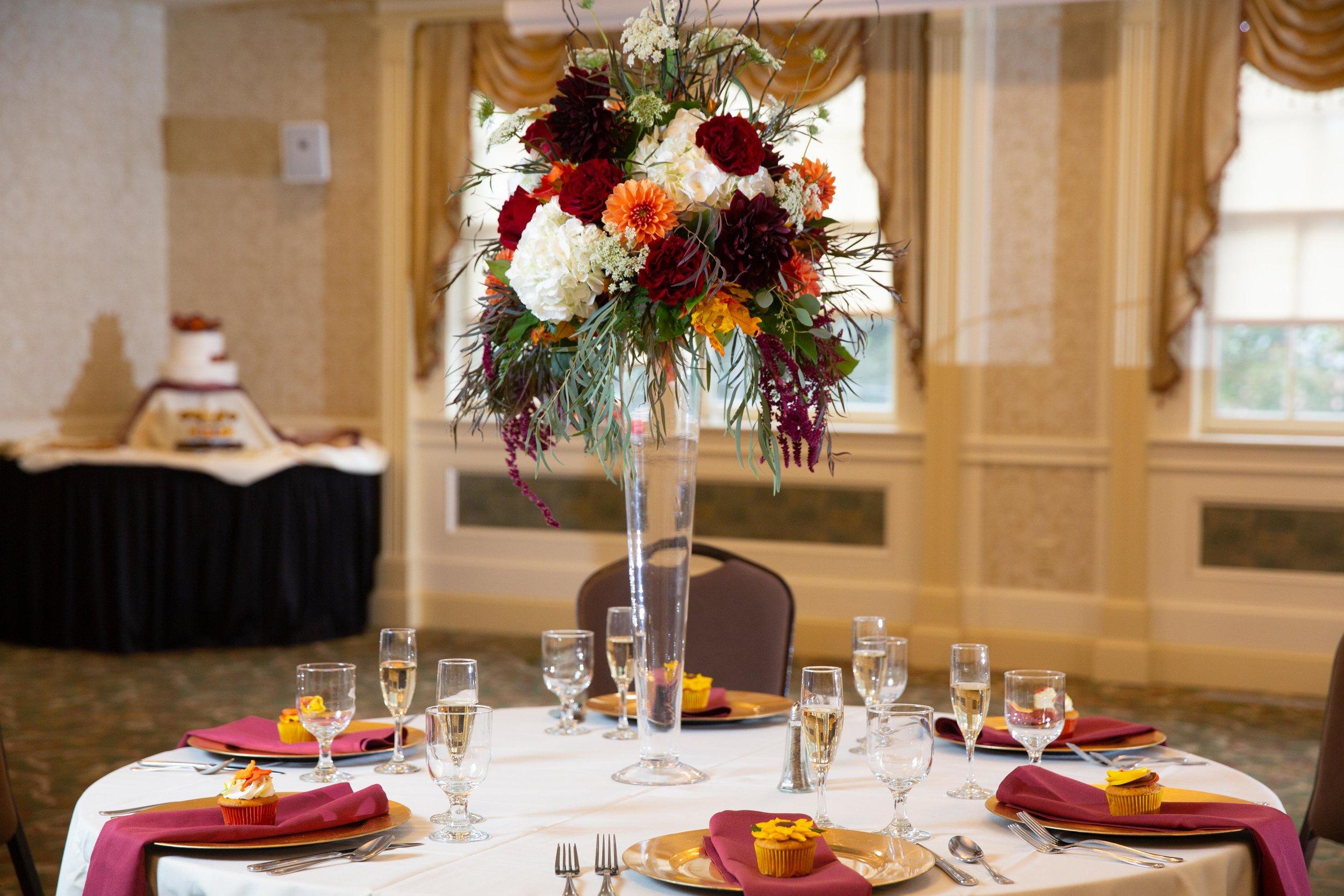 Table setting in ballroom