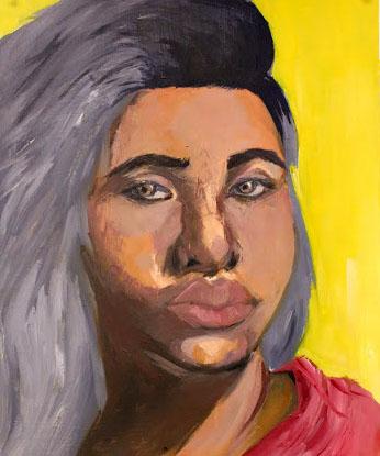"""Self Portrait"" (2016), oil on paper, 18""x 24"""