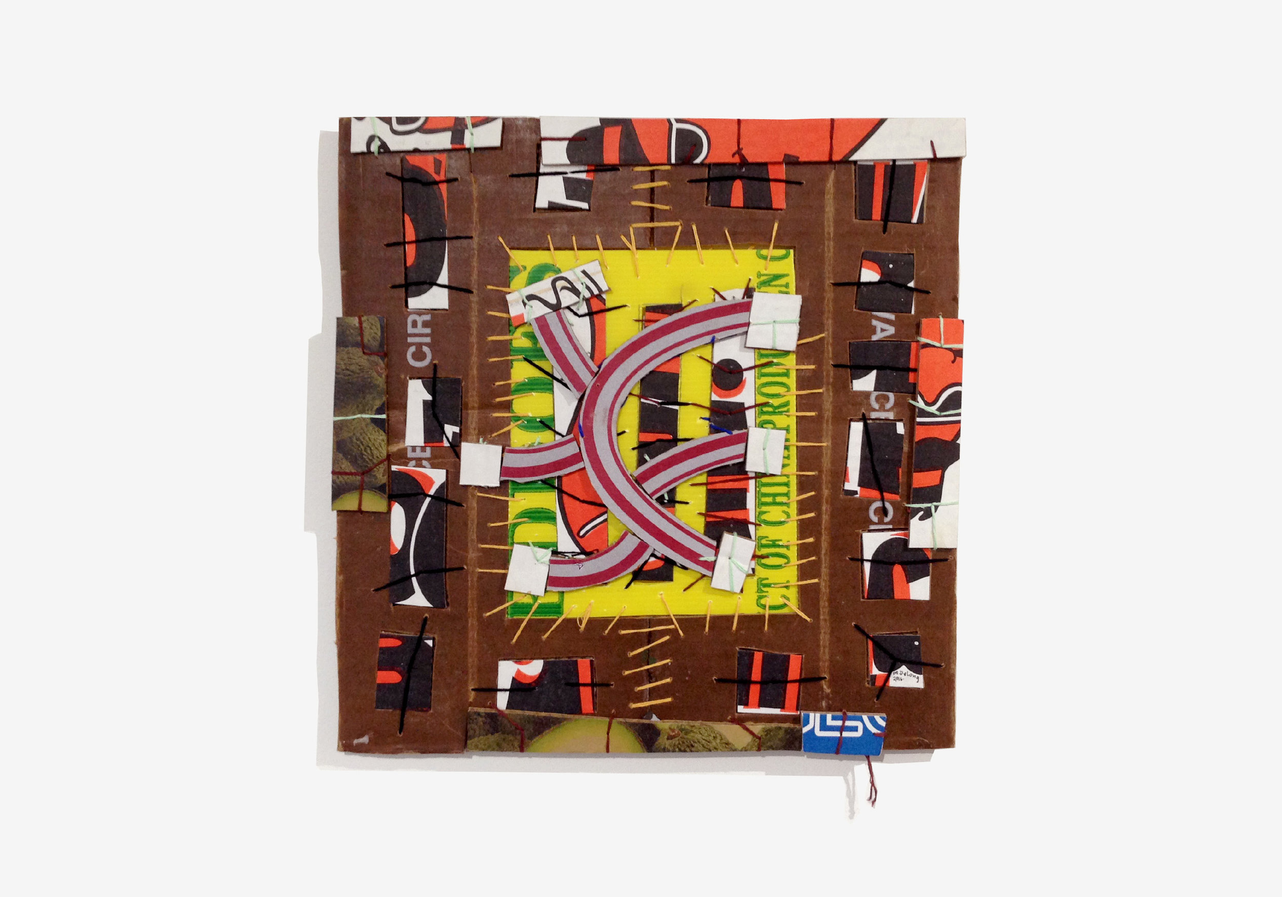 """Mark DeLong ,  Armed and Fairly Reasonable , 2016, cotton thread on cardboard, W 15"""" x H 15"""""""