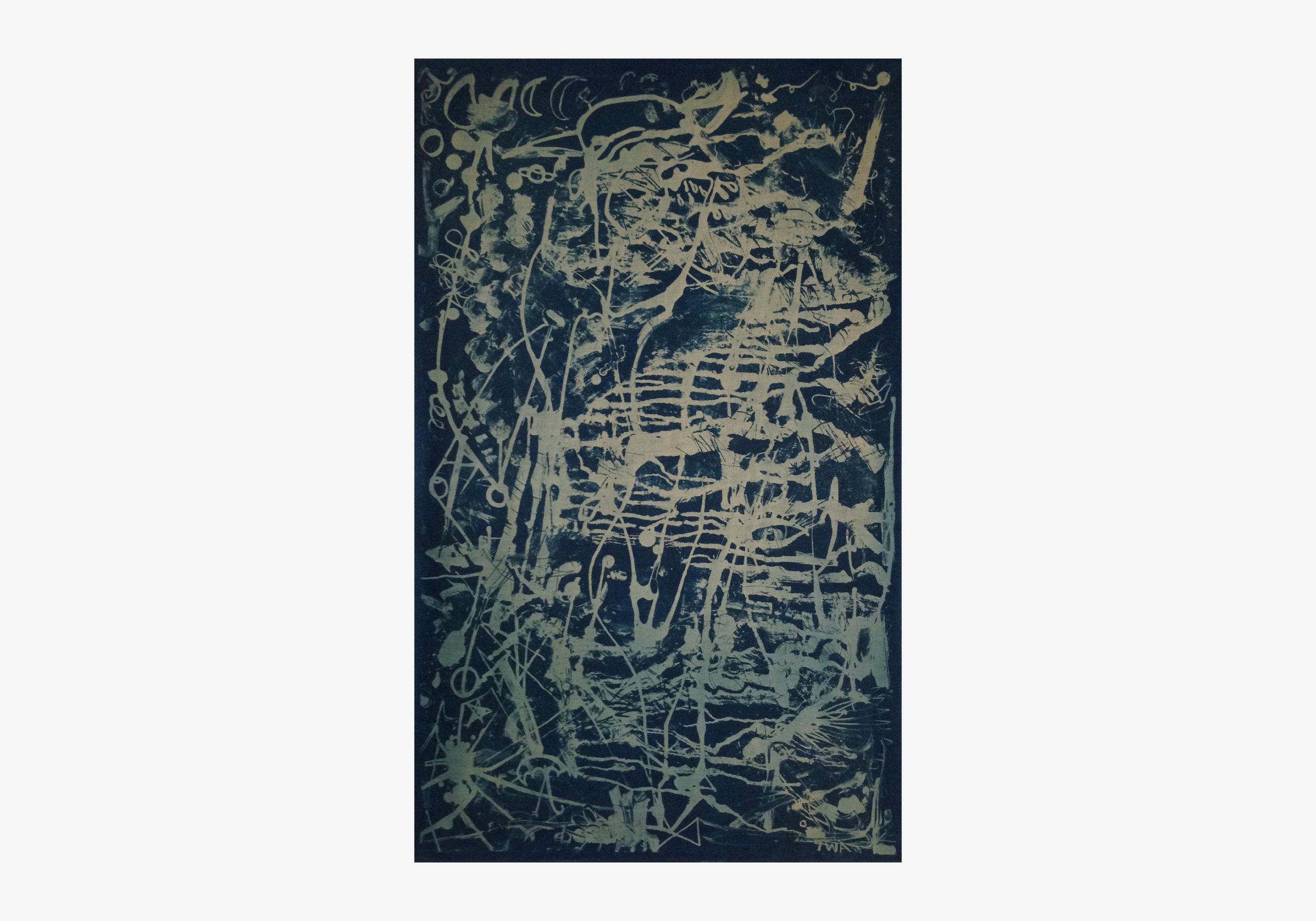 """Thomas Arden ,  Untitled , 2015, cyanotype on linen, 26"""" x 1.5"""" x 41"""""""