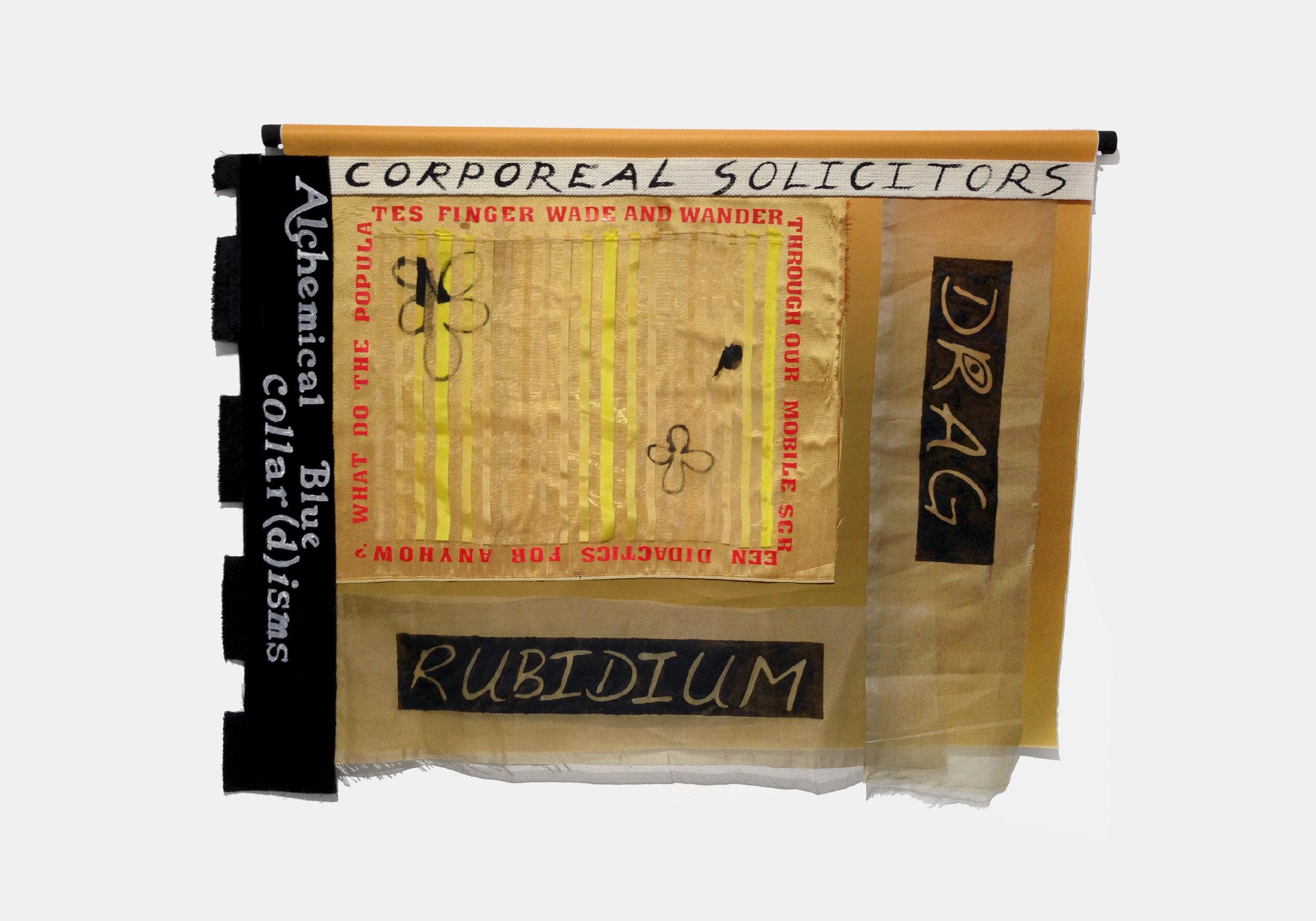"Sharona Franklin ,  Rubidium Drag , 2017, velvet, silk, cotton, acrylic, wood, paper, W 29"" x H 23"""