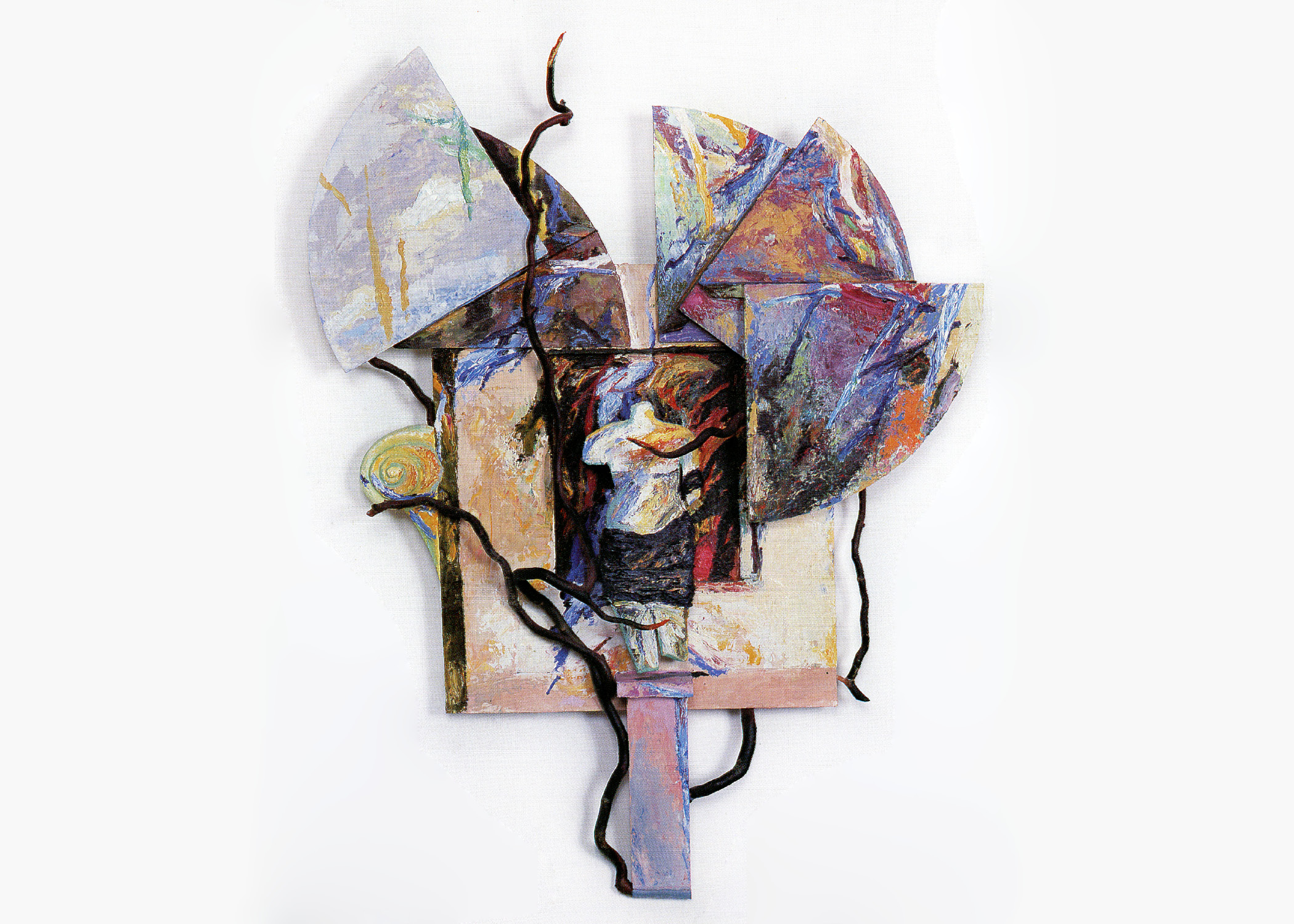 Keith Mitchell,  Entangled Garden , 1986, mixed media, oil paint, wood panel, arbutus branches, L 44 x H 33 x W 5.5 inches.Private collection.