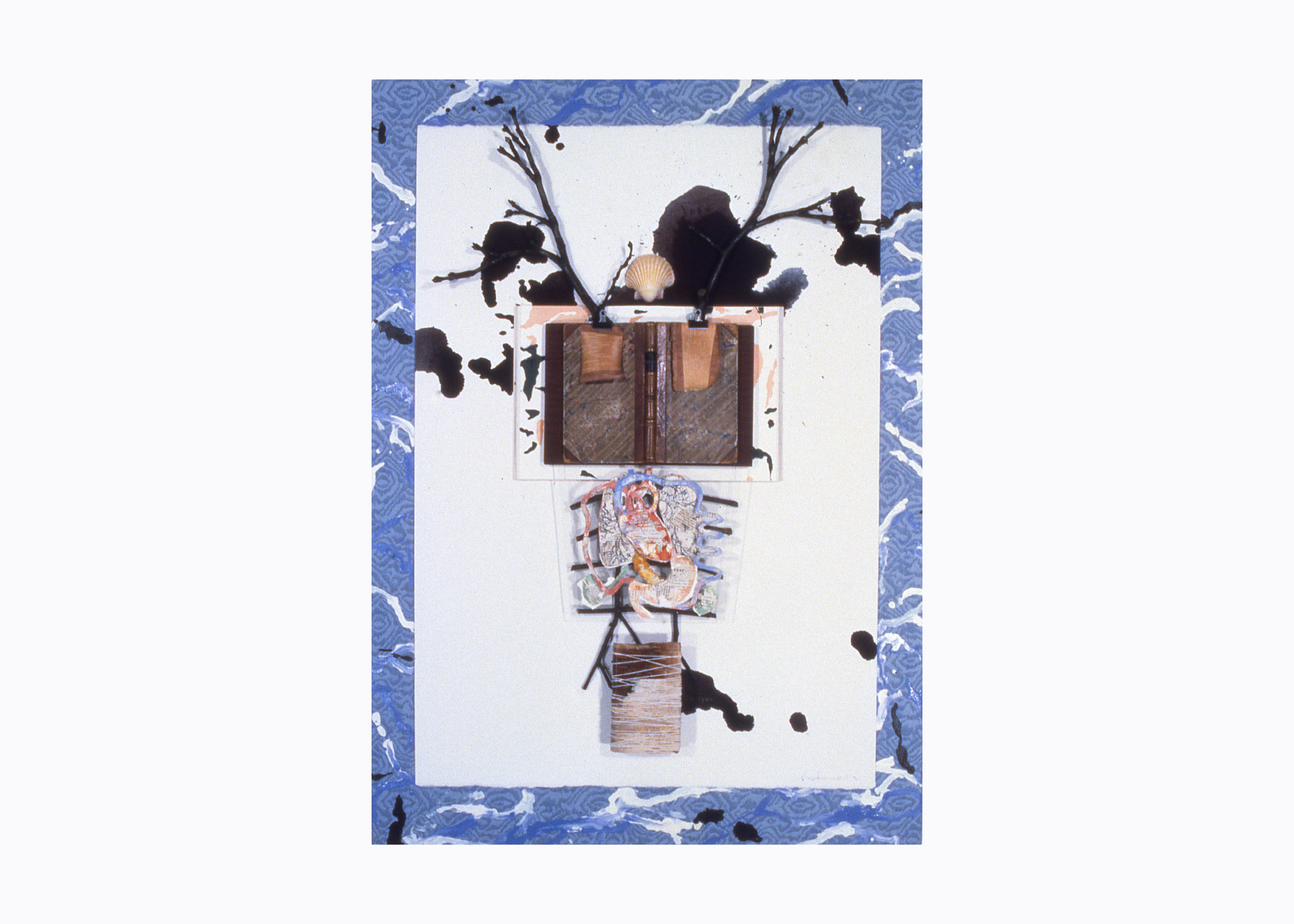 Keith Mitchell,  Summa , 1992, mixed media,oil paint, wood panel, ink, wood, tree branches,silk, shells, W 35 x L 48 x W 3 inches.Private collection.