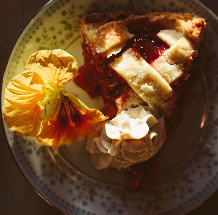Strawberry Rhubarb Pie with Coconut Whip