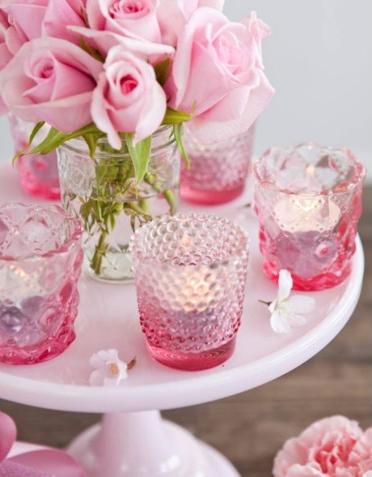 Pink Glass Tealight