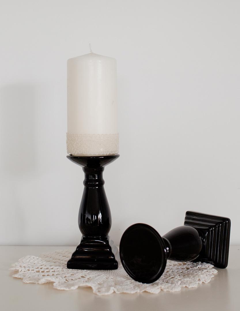 Black Pillar Candle Sticks
