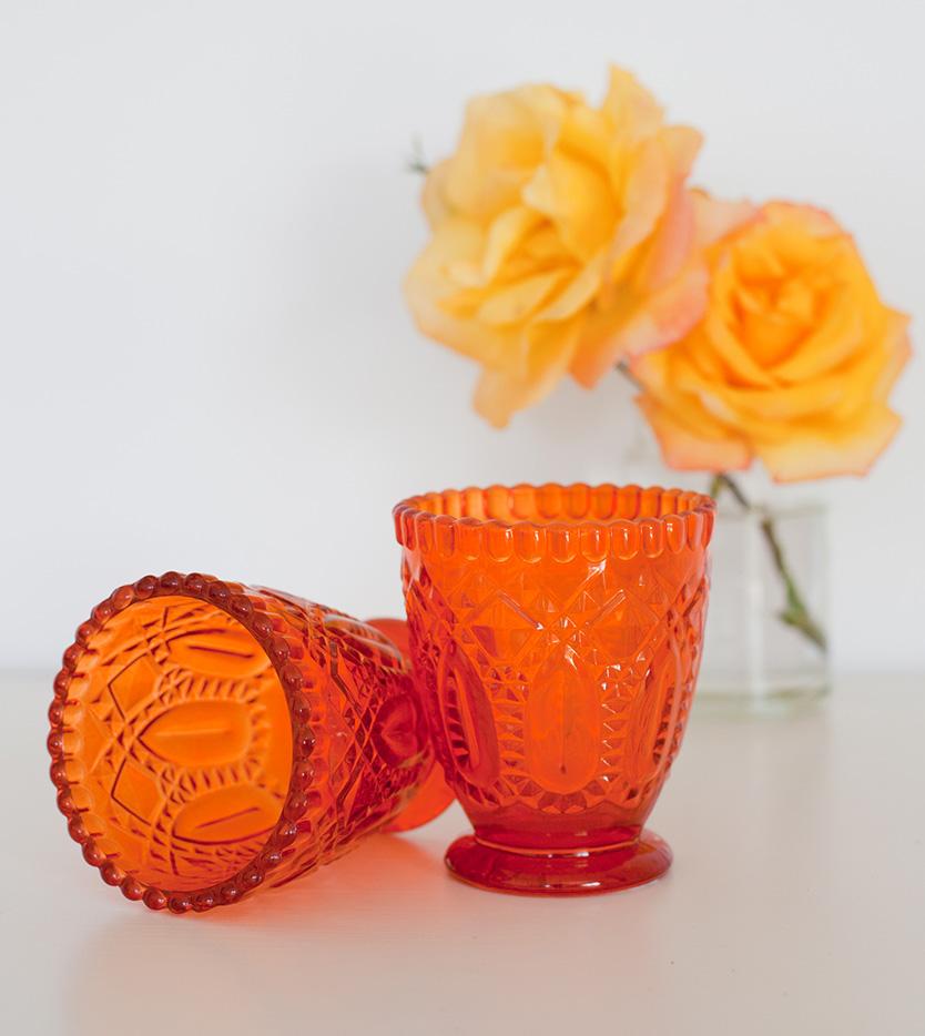Orange Glass Votive/Vase