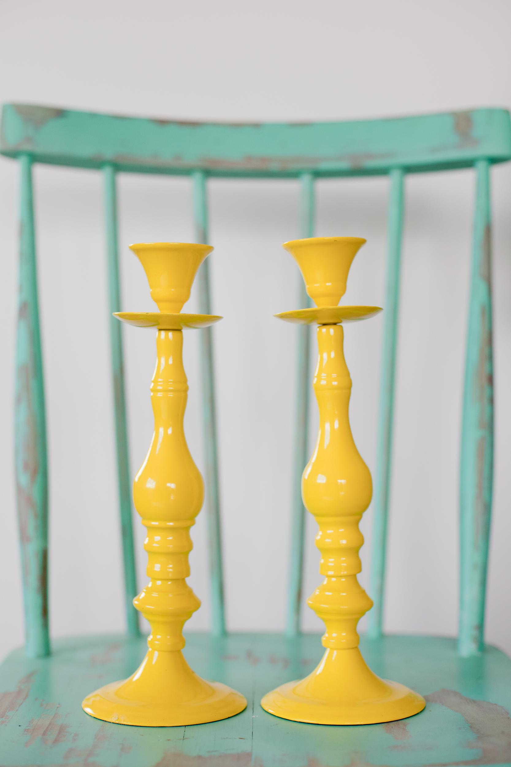 Yellow Metal Candle Sticks