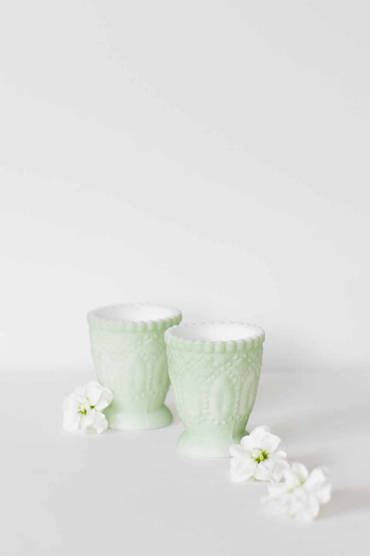 Mint Milk Glass Votive