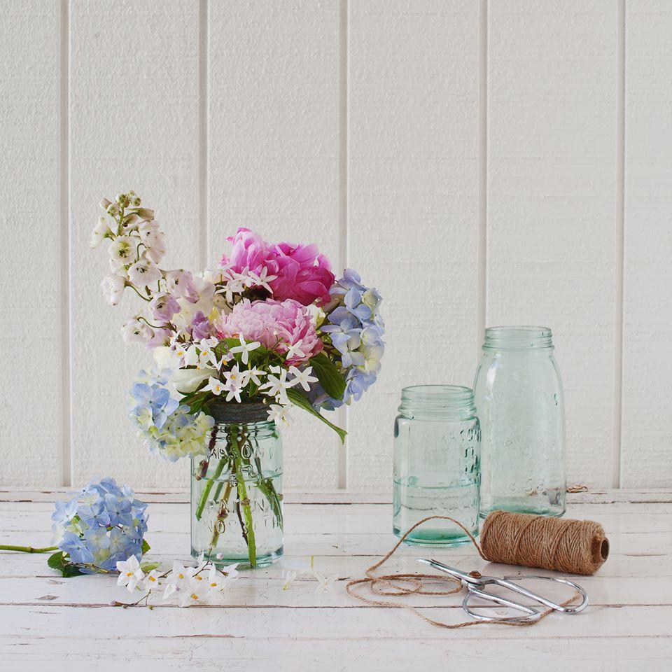 Vintage Pale Blue Jars - Med & Lrg