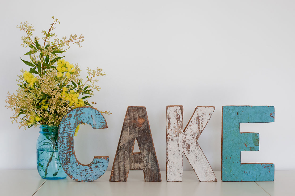 Wooden CAKE Letters