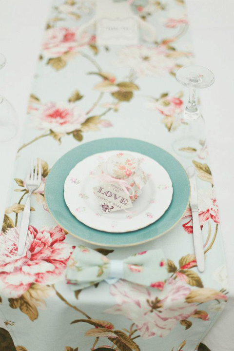 Duckegg Blue Floral Runner