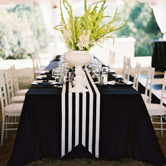 Black & White Striped Runner