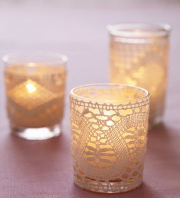Glass Tealight with Lace Trim