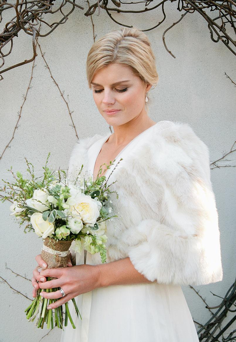 Cream & White Mottled Fur Stole