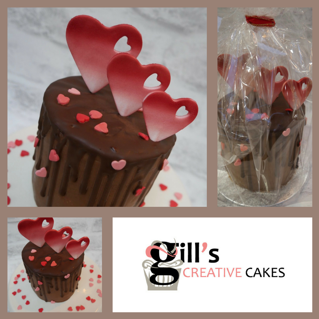 - Order your valentines cake today. Only a small number available so order today to avoid disappointment.4 inch (10cm) x 4 inch (10cm) 3 layers of moist chocolate sponge filled and covered with real Belgian chocolate ganache.Collection 13th and 14th February from Gill's Creative Cakes, Newbridge, BathPayment required with order:Paypal: gillgoddon@googlemail.com