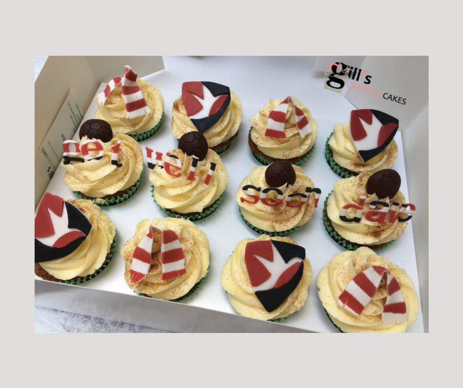 Get Well Soon Cupcakes with Cheltenham Town Football Club Theme