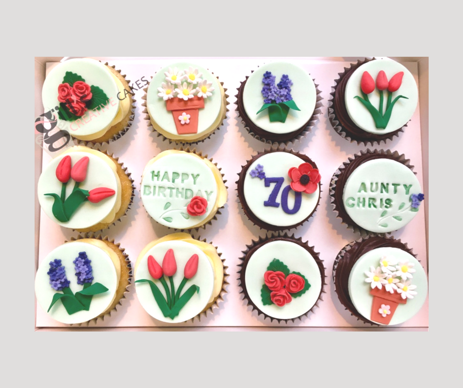 Bespoke Cupcakes for a 70th Birthday Celebration