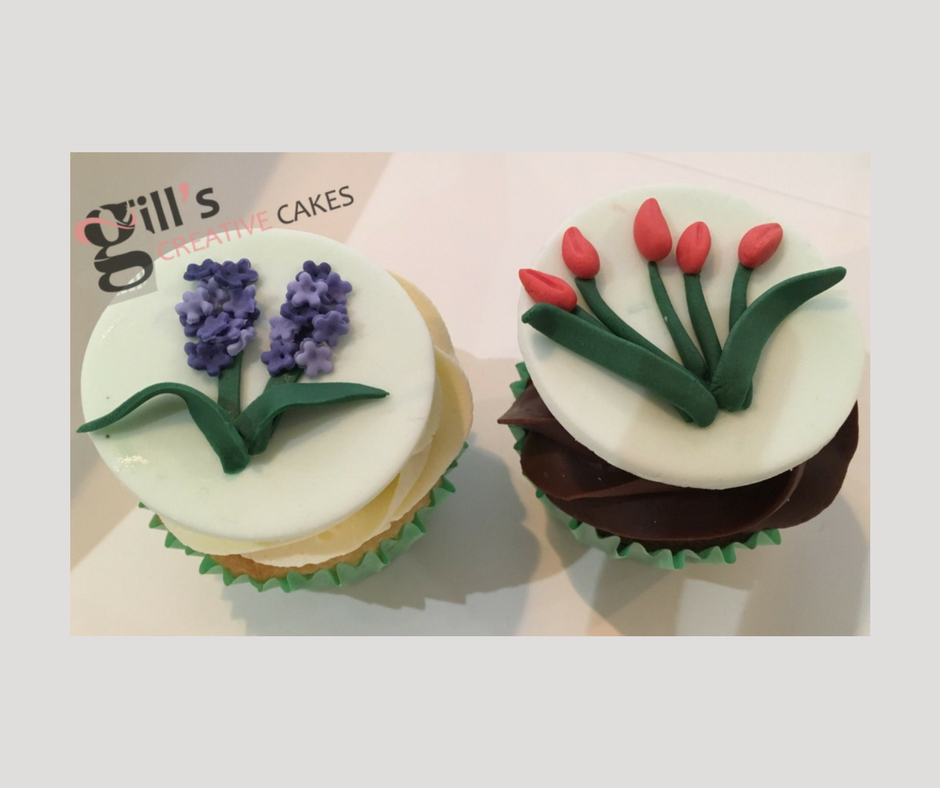 Bespoke Cupcakes decorated with handmade sugar tulips and hyacinths