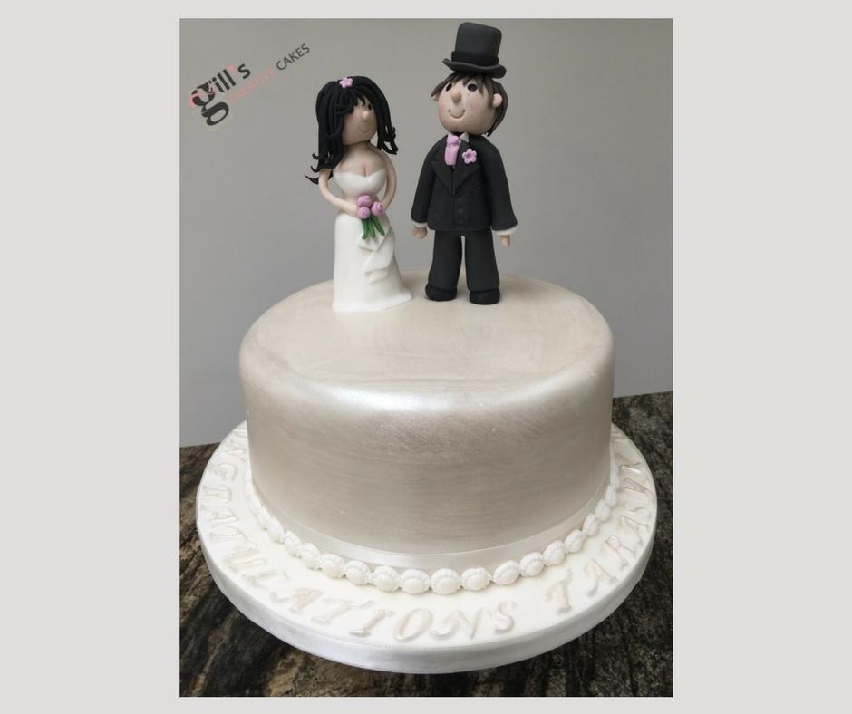 Bride and Groom Single Tier Wedding Cake