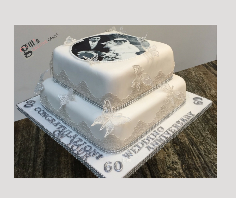 60th Wedding Anniversary Cake with edible image of Bride and Groom on Wedding Day