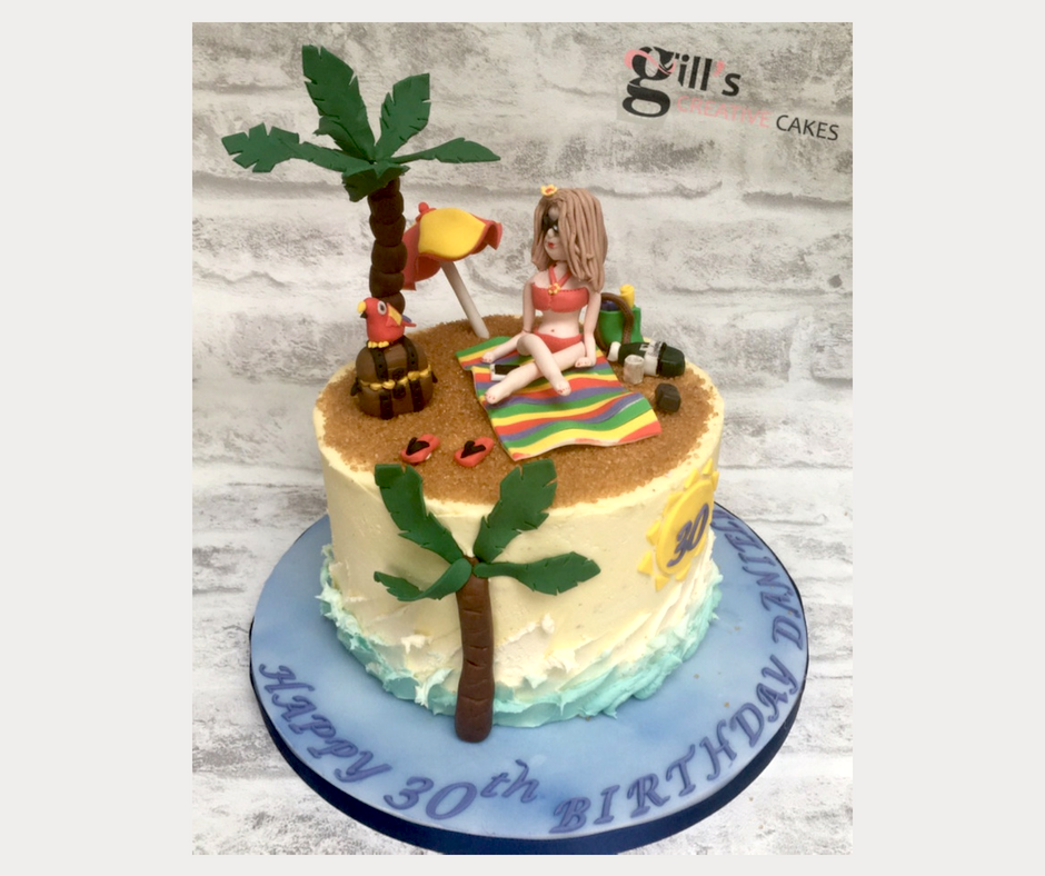 Beach Scene 30th Birthday Cake