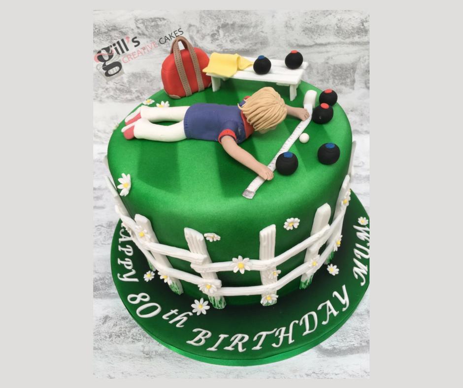 80th Birthday Lawn Bowls Themed Cake