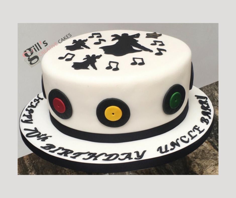 Ballroom dance themed 70th Birthday cake