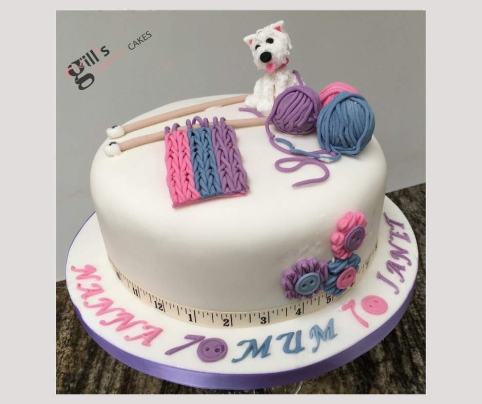 70th Birthday Cake for knitting enthusiast
