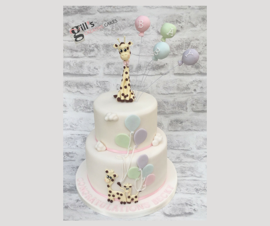 Giraffe and Balloon themed Baby Shower Cake