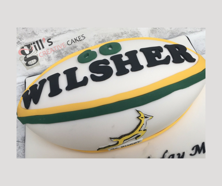 Springbok Inspired 60th Birthday Rugby Ball Cake
