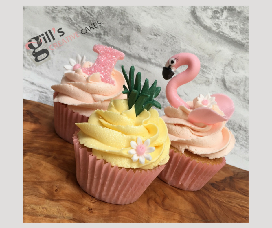Tropical Themed cupcakes for 1st birthday
