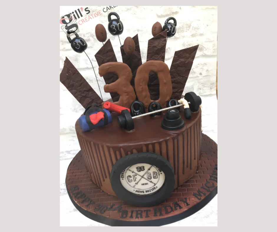 CrossFit themed 30th Birthday Chocolate Cake