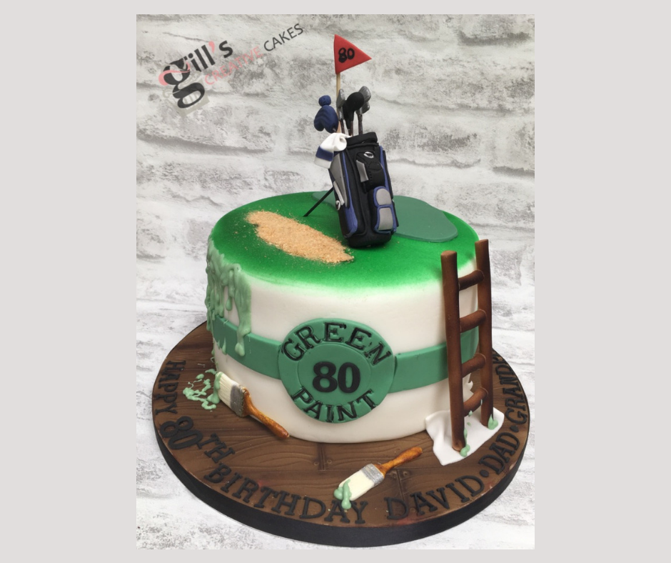 Golf and DIY inspired 80th Birthday Cake