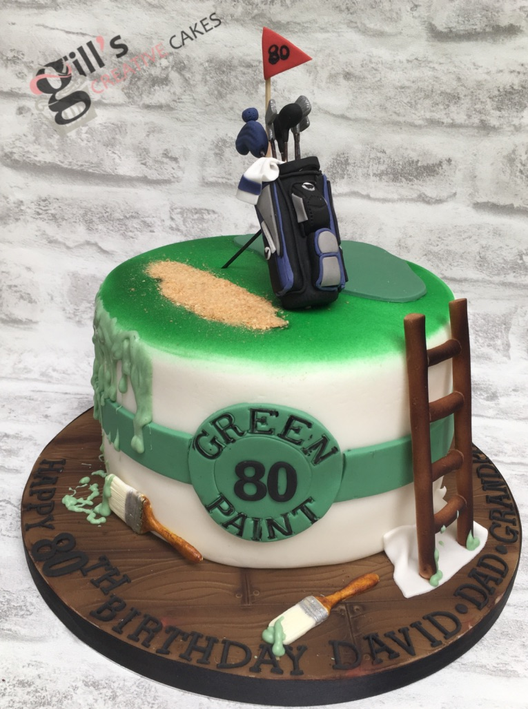 "- ""I asked Gill to make a cake for my Dad's 80th Birthday. I was intrigued to see how she would combine the two themes of DIY and golf. The design she created was superb, I work of art - I was thrilled to bits! Its easy to buy ready made cakes but having a bespoke cake is a totally different experience. Our cake was the centrepiece of Dad's celebrations and was admired by everyone. It was a shame to eat it but the taste of the cake was sublime. Many Thanks Gill""Kerry Edwards, Bradford upon Avon, September 2018"
