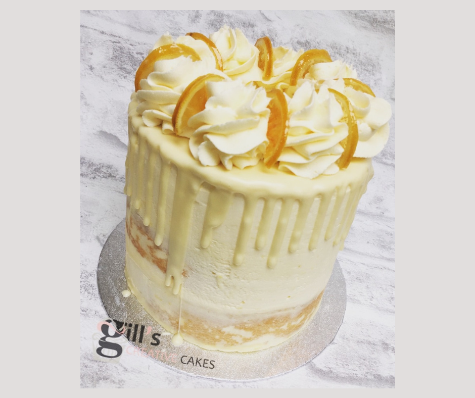 Lemon Cake with White Chocolate Drip and Crystallised Lemons