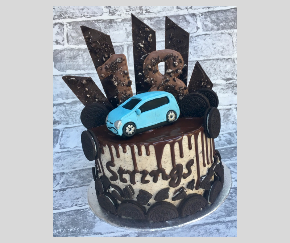 Oreo and VW UP Chocolate Shard and Drip 18th Birthday Cake  .png