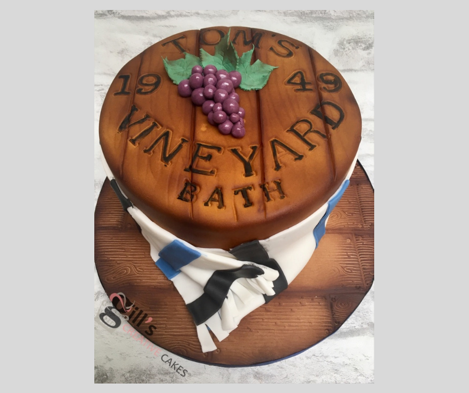 Wine Barrel and Bath Rugby Scarf Cake