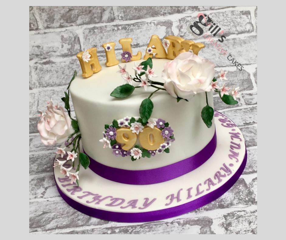 90th Birthday Pretty Purple Birthday Cake