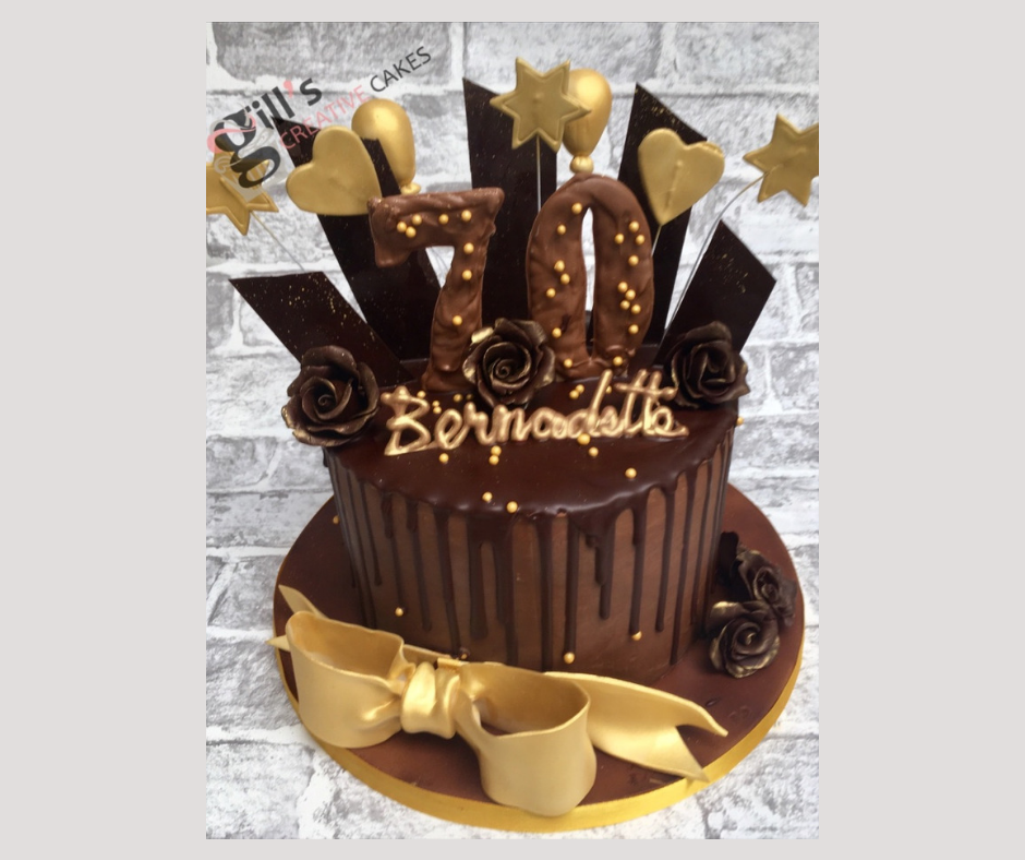 70th Birthday Chocolate Drip and Shard Cake