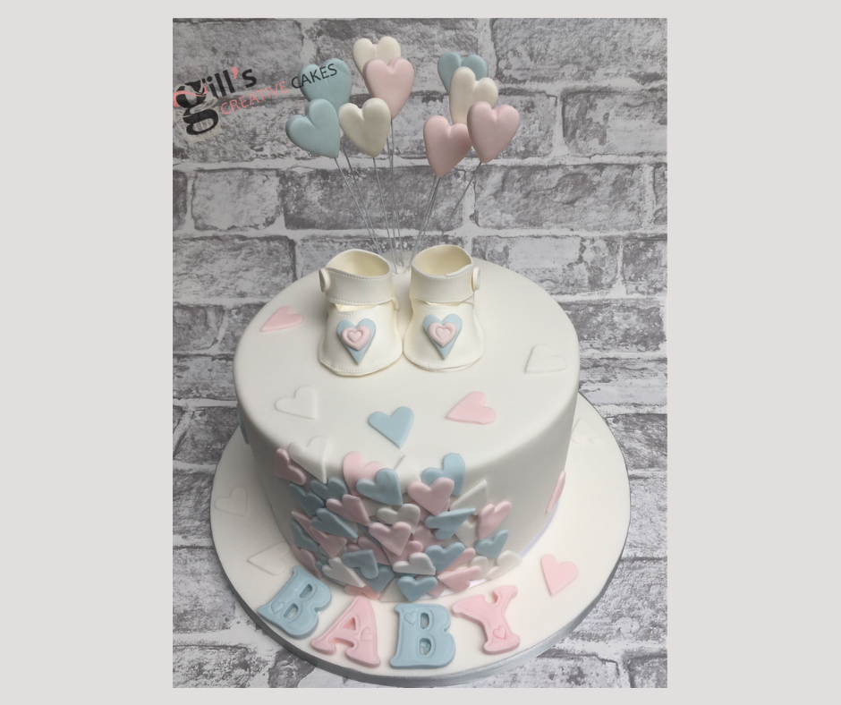 Baby Booties and Hearts Baby Shower Cake