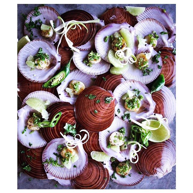 Green chilli scallops.  I seem to always overload my scenes.