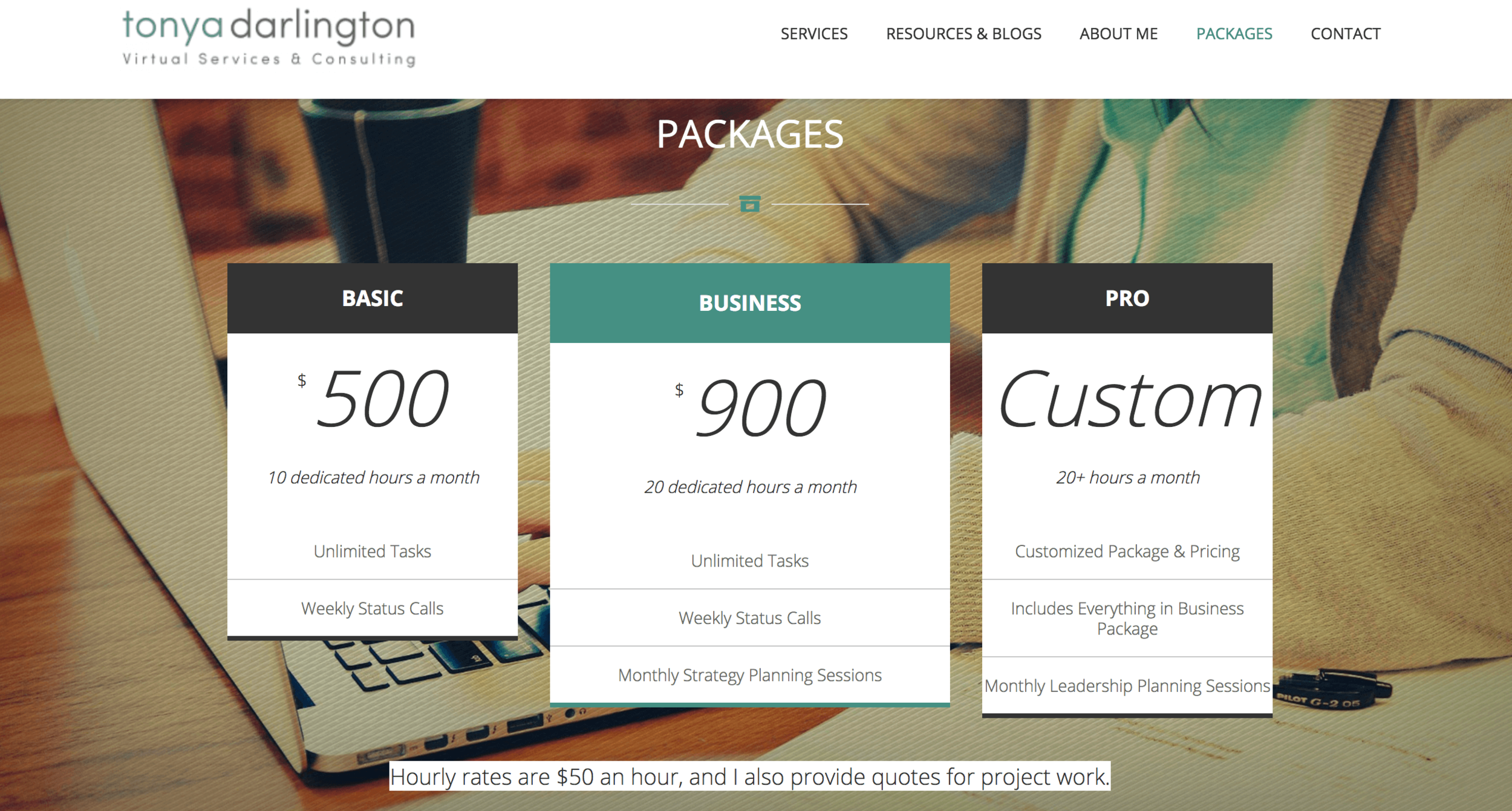 Packages Pricing — Tonya Darlington