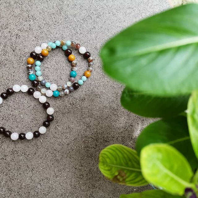 Reacquainted with these beauties this afternoon.  __ Red Garnet + Rose Quartz bracelet for vitality and self ❤️ __ Creative intuition and sacral power double loop bracelet with Agate, Amazonite, Rose Quartz, Garnet and Yellow Jade . These and more, available at @anantarakihavah Spa, Maldives.
