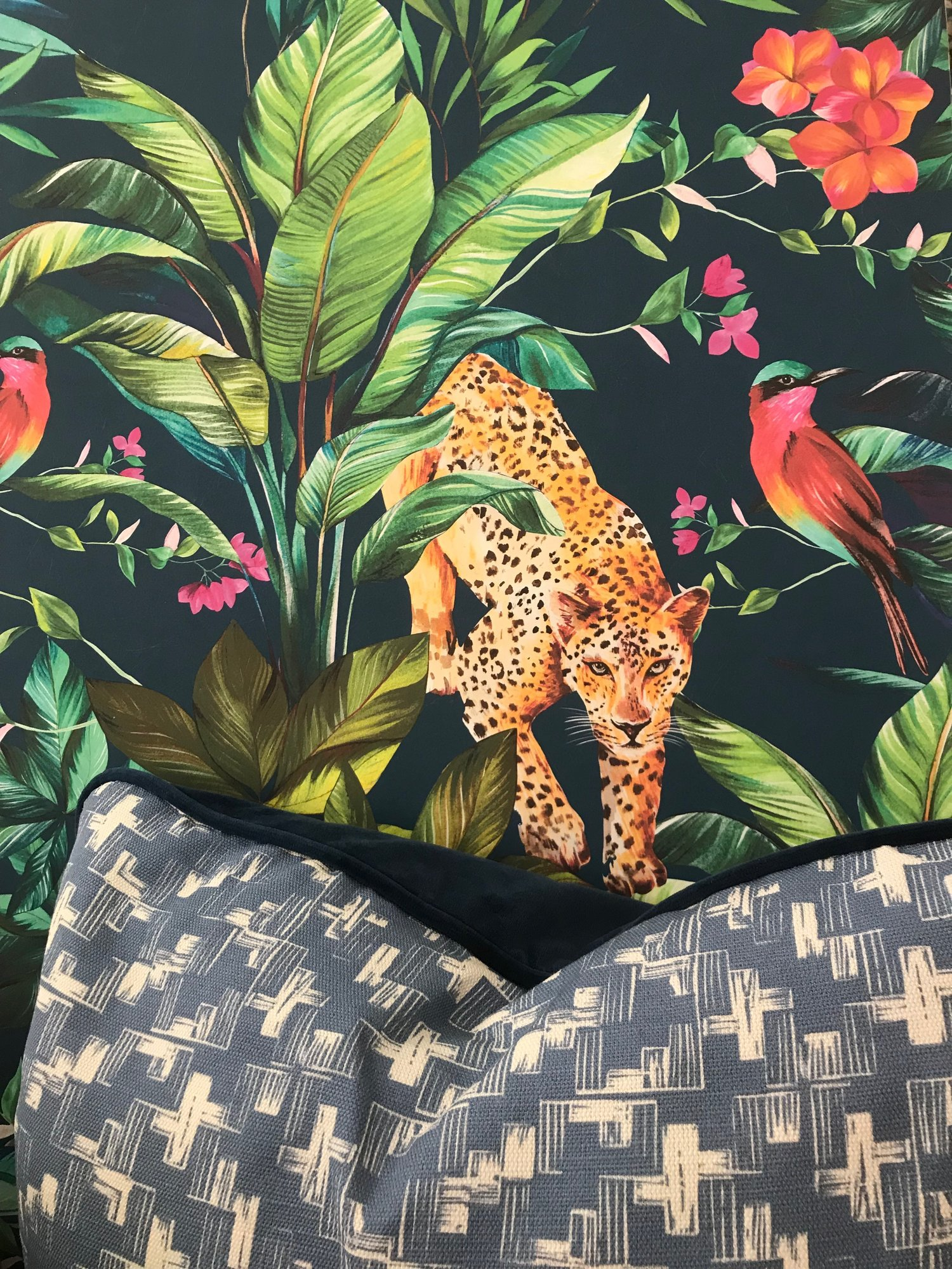Keep It Tropical Jungle Fever Sapphire Wallpaper 130cm Wide Contemporary Design Home Accessories Sarah Fortescue