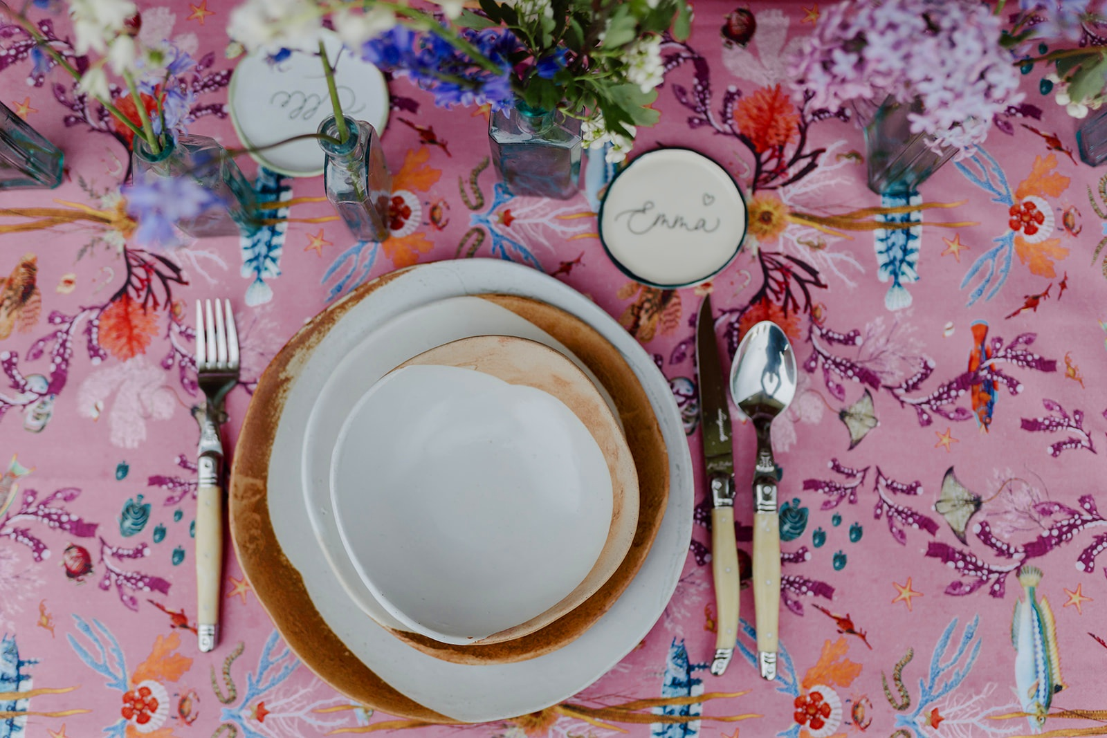 Fortescue Bay in Coral Pink Tablecloth