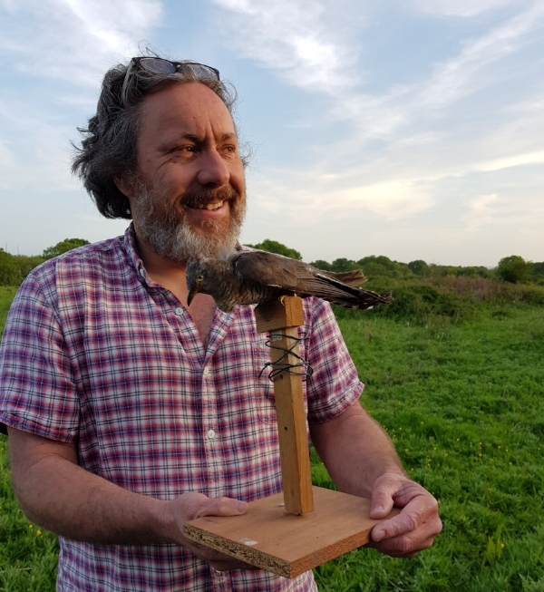 Chris Hewson (BTO) holding Madame Cuckoo