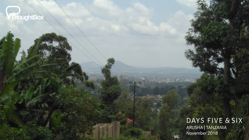 A sharp hike up a steep hill was well worth it for the panoramic views back over the city of Arusha.