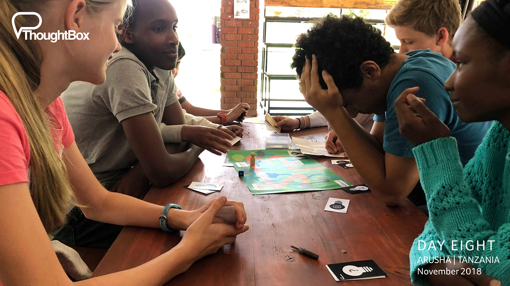 One of the teams exploring some of the challenges in 'the game of life'.