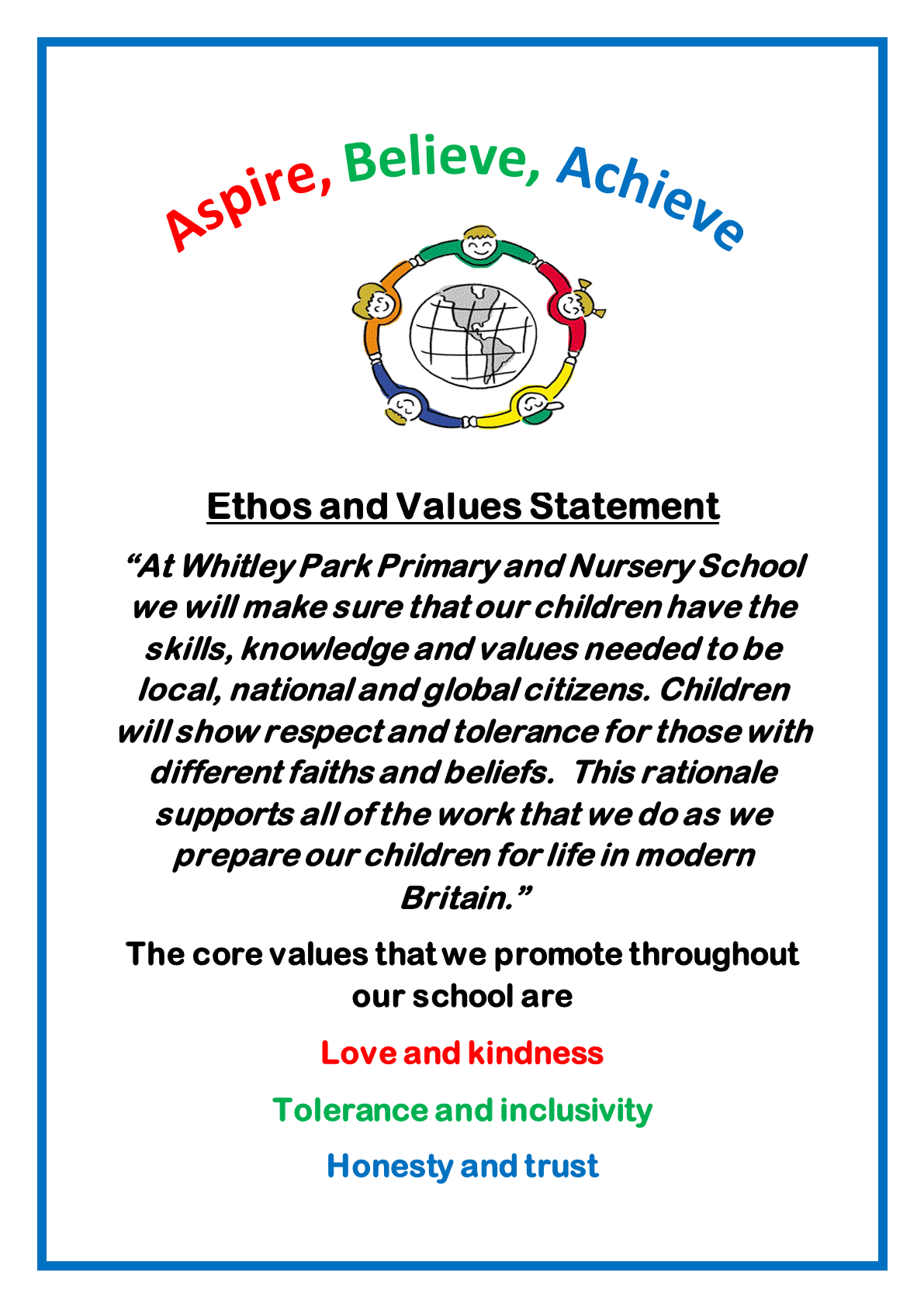 It is clear from the school's values just what sort of nurturing environment they are creating for their pupils: